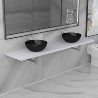 Three Piece Bathroom Furniture Set Ceramic White VD21619 - Hommoo