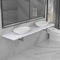 Three Piece Bathroom Furniture Set Ceramic White VD21616 - Hommoo