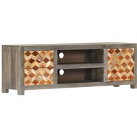 TV Cabinet Grey 120x30x40 cm Solid Mango Wood VD23821 - Hommoo
