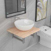 Hommoo Two Piece Bathroom Furniture Set Ceramic Oak VD21531