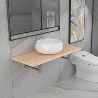 Two Piece Bathroom Furniture Set Ceramic Oak VD21566 - Hommoo