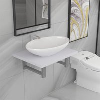 Hommoo Two Piece Bathroom Furniture Set Ceramic White VD21539