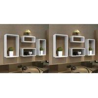 Wall Cube Shelves 8 pcs White VD18860 - Hommoo