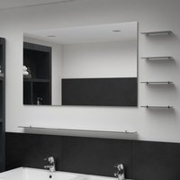 Wall Mirror with 5 Shelves Silver 100x60 cm - Hommoo