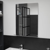 Wall Mirror with Shelf 50x70 cm Tempered Glass - Hommoo