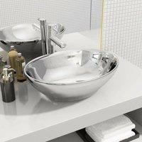 Wash Basin 40x33x13.5 cm Ceramic Silver VD05386 - Hommoo