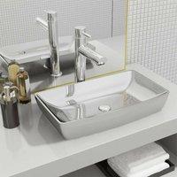 Wash Basin 71x38x13,5 cm Ceramic Silver VD05392 - Hommoo