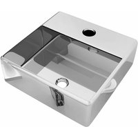 Wash Basin with Faucet Hole 38x30x11.5 cm Ceramic Silver QAH05400 - Hommoo