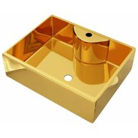 Wash Basin with Faucet Hole 48x37x13.5 cm Ceramic Gold QAH05399 - Hommoo