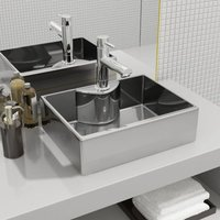 Wash Basin with Faucet Hole 48x37x13.5 cm Ceramic Silver VD05398 - Hommoo