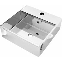 Wash Basin with Overflow 41x41x15 cm Ceramic Silver QAH05390 - Hommoo