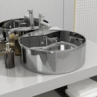 Wash Basin with Overflow 46.5x15.5 cm Ceramic Silver VD05751 - Hommoo