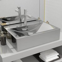 Wash Basin with Overflow 60x46x16 cm Ceramic Silver VD05415 - Hommoo