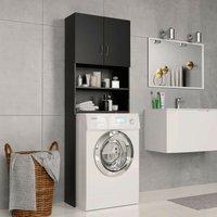 Hommoo Washing Machine Cabinet Black 64x25.5x190 cm Chipboard VD31057