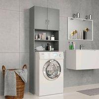 Washing Machine Cabinet Grey 64x25.5x190 cm Chipboard VD31058 - Hommoo