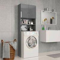 Hommoo Washing Machine Cabinet High Gloss Grey 64x25.5x190 cm Chipboard VD31064