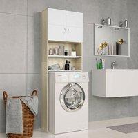 Hommoo Washing Machine Cabinet White and Sonoma Oak 64x25.5x190 cm VD31061