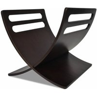 Wooden Magazine Rack Floor Standing Brown QAH08620 - Hommoo
