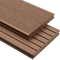 WPC Solid Decking Boards with Accessories 10m2 2.2m Light Brown VD18553 - Hommoo