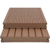 WPC Solid Decking Boards with Accessories 16m2 2.2m Light Brown QAH18554 - Hommoo