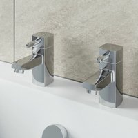Architeckt - Hot and Cold Bathroom Bath Taps Modern Chrome Twin Pair Brass Square Lever Handles