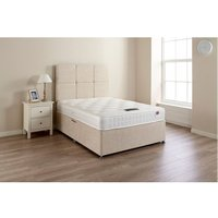 HP Coolsoft Tufted Silver Sprung Memory Foam Divan bed No Drawer With Headboard Single - BED CENTRE