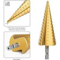 HSS Drill Bit Set High Speed ??Steel Hex Shank Step Conical Drill Bit for Metal Wood Hole Cutting Tools 3-12mm, 4-12mm, 4-20mm, 4-32mm (1pcs 4 -32mm)