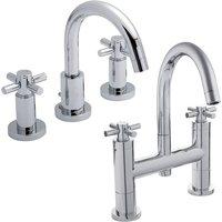 Tec Crosshead 3 Hole Basin Mixer Tap and Bath Filler Tap, Chrome - Hudson Reed