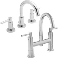 Tec Lever Basin Mixer Tap and Bath Filler Tap, Chrome - Hudson Reed