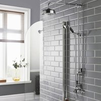 Topaz Dual Exposed Mixer Shower with Shower Kit + Fixed Head - Black/Chrome - Hudson Reed
