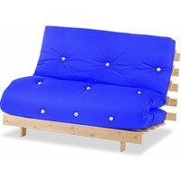 Luxury Natural Pine Wood Metro Futon Sofa Bed Frame and Mattress Set, 2 Seater Small Double - Dark Blue - Humza Amani