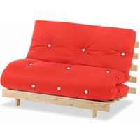 Luxury Natural Pine Wood Metro Futon Sofa Bed Frame and Mattress Set, 2 Seater Small Double - Red - Humza Amani