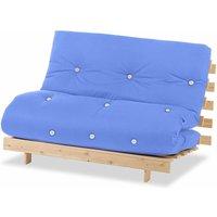 Luxury Natural Pine Wood Metro Futon Sofa Bed Frame and Mattress Set, 2 Seater Small Double - Lilac - Humza Amani