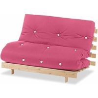 Luxury Natural Pine Wood Metro Futon Sofa Bed Frame and Mattress Set, 2 Seater Small Double - Pink - Humza Amani