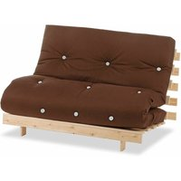 Luxury Natural Pine Wood Metro Futon Sofa Bed Frame and Mattress Set, 2 Seater Small Double - Brown - Humza Amani