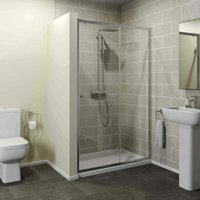 1200 x 900mm Sliding Shower Door Enclosure 4mm Glass Panel Framed Tray Waste