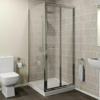 Hydrolux 900 x 900mm Bi-fold Shower Door and Side Panel 4mm Glass Easy Plumb Tray