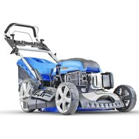 Hyundai 196 cc Self Propelled Electric Push Button Start Petrol Lawn Mower, Blue, 51cm Cut Start and Pull HYM510SPE