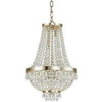 Ideal Lux Caesar - 6 Light Crystal Chandelier Gold Finish, G9