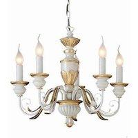 Ideal Lux Firenze - 5 Light Chandelier Ivory, Gold Finish, E14