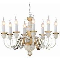 Ideal Lux Firenze - 8 Light Chandelier Ivory, Gold Finish, E14