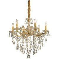 Ideal Lux Lighting - Ideal Lux Florian - 6 Light Crystal Chandelier Gold Finish, E14