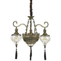 Ideal Lux Harem - 5 Light Multi Arm Chandelier Amber, Antique Brass Finish, E27