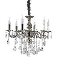Ideal Lux Lighting - Ideal Lux Impero - 6 Light Crystal Chandelier Crystal, Silver Finish, E14