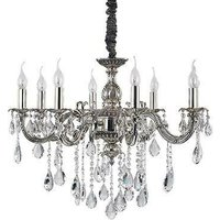 Ideal Lux Impero - 8 Light Crystal Chandelier Crystal, Silver Finish, E14