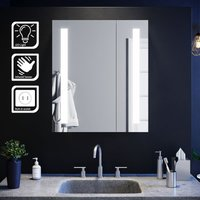 Elegant - Illuminated Bathroom Mirror Cabinet with Light and Shaver Socket Wall Mounted LED Mirror with Shelf 600mm