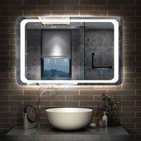 Illuminated Bathroom Mirror with Demister Over Bathroom Sink White LED Light-1000x600mm