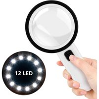 Betterlifegb - Illuminated magnifying glass, mature magnifying glass with 12 LED lights, manual magnifying glass with 30x lighting function, battery