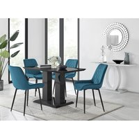 Furniturebox Uk - Imperia 4 Black Dining Table and 4 Blue Pesaro Black Leg Chairs