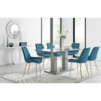 Imperia 6 Grey Dining Table and 6 Blue Pesaro Gold Leg Chairs